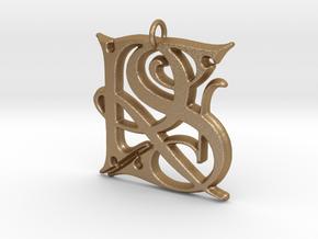 Monogram Initials RS Pendant  in Matte Gold Steel