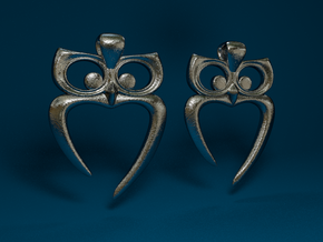 Owl Heart Earrings in Polished Bronzed Silver Steel