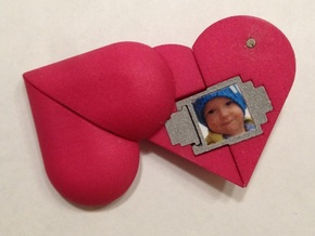 Heart Amulet Small - Outer Part 1 Right in Pink Processed Versatile Plastic