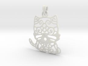 Hello Cat Pendant in White Natural Versatile Plastic