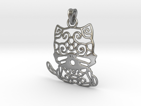 Cat Pendant in Interlocking Raw Silver