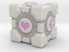 "Weighted Portal Cube (In Color) - Heart 2"" in Full Color Sandstone"