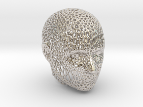Voronoi Head in Rhodium Plated Brass