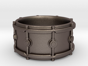 Snare Drum Ring in Polished Bronzed Silver Steel: 5.5 / 50.25