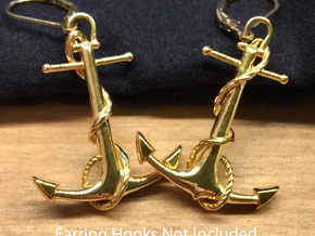 Anchor Earrings in 18k Gold Plated Brass