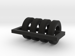 1/87 Street Tire X 4 in Black Natural Versatile Plastic