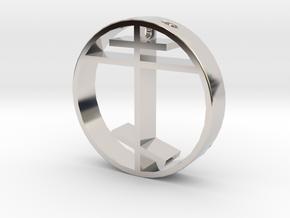 Orthodox cross pendant for men. in Rhodium Plated Brass