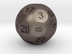 D26 Sphere Dice for Impact! Miniatures in Polished Bronzed Silver Steel