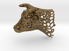 Voronoi Cow's Head in Natural Bronze