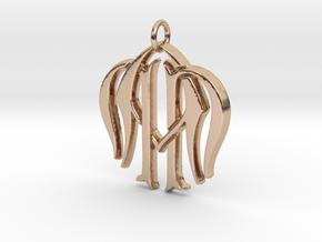 Monogram Initials NNA Pendant  in 14k Rose Gold
