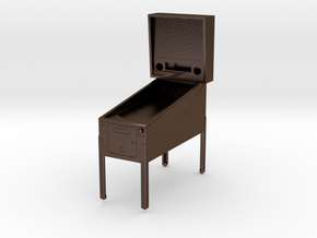 Trophy - Mini Pinball Cabinet v3 - 1:20 Scale in Polished Bronze Steel