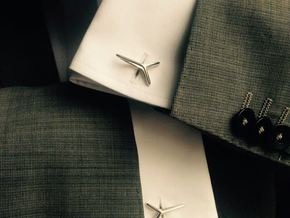 YOUNIVERSAL Line Cufflinks in Polished Silver