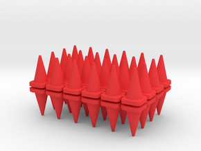 48 Traffic Cones, Tall, 1/64 in Red Processed Versatile Plastic