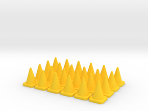 24 Large Traffic Cones in Yellow Processed Versatile Plastic: 1:64 - S