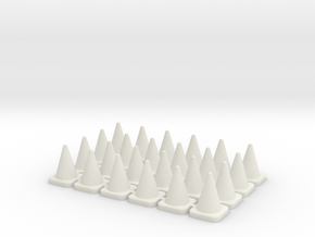24 Large Traffic Cones in White Natural Versatile Plastic: 1:76 - OO