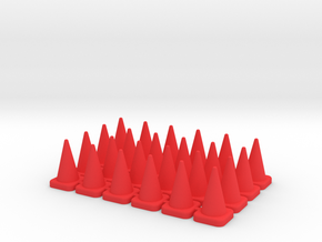 24 Tall Traffic Cones in Red Processed Versatile Plastic: 1:64 - S