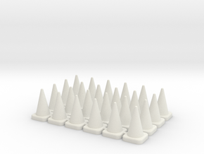 24 Tall Traffic Cones in White Natural Versatile Plastic: 1:76 - OO