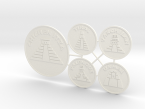Mayan Pyramids (5 pcs) - Discs in White Strong & Flexible Polished