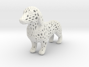 Voronoi Dachshund in White Strong & Flexible