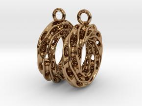 Twisted Scherk Linked 3,4 Torus Knots Earrings in Polished Brass