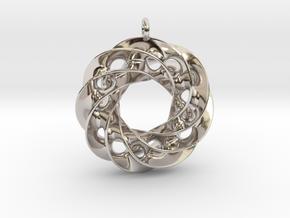 Twisted Scherk Linked 4,3 Torus Knots Pendant in Platinum
