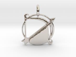 Astrology Zodiac Sagittarius Sign  in Rhodium Plated Brass