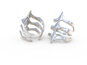 Ring Two Spikes - Elegant modern adjustable in Polished Silver: 8 / 56.75