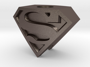 Superman Logo Bead in Polished Bronzed Silver Steel