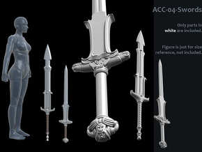 ACC-04-Swords  6-7inch in White Processed Versatile Plastic