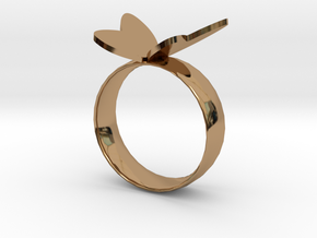 Butterfly RIng in Polished Brass
