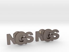 Monogram Cufflinks NSG in Polished Bronzed Silver Steel