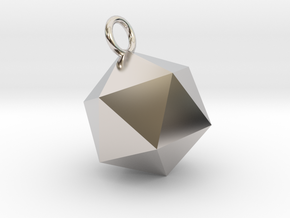 An Icosahedron Earring in Rhodium Plated Brass