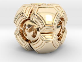 Testudo D6 in 14k Gold Plated Brass