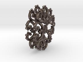 Filigree Star Earrings in Polished Bronzed Silver Steel