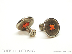 Button Cufflinks in Platinum