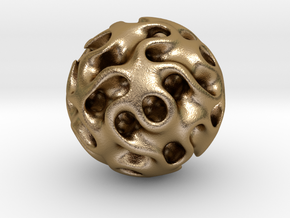 0604 IsoSurface F(x,y,z)=0 Gyroid Ball (d=5cm) #1 in Polished Gold Steel