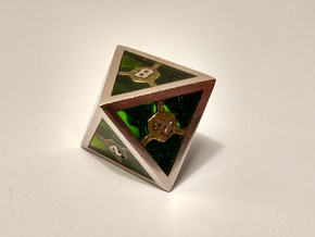 D8 Epoxy Dice in Polished Bronzed Silver Steel