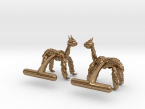 Alpaca Cufflinks in Natural Brass