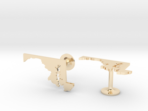 Maryland State Cufflinks in 14k Gold Plated Brass