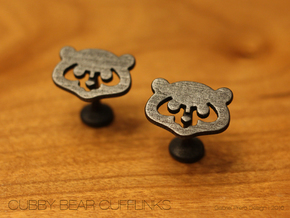 Chicago Cubs Cufflinks in Polished and Bronzed Black Steel