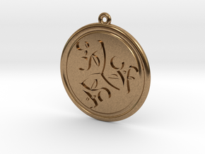 Moons and Leaves Pendant in Natural Brass
