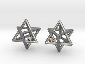 MILOSAURUS Tetrahedral 3D Star of David Earrings in Natural Silver