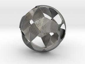 0411 Spherical Truncated Octahedron (d=6cm) #003 in Fine Detail Polished Silver