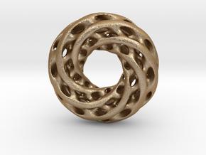 0608 IsoSurface F(x,y,z)=0 Diamond Tori [6] d=5cm in Matte Gold Steel