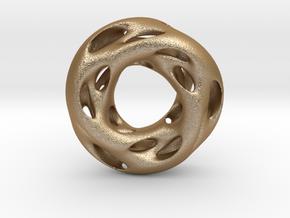 0609 IsoSurface F(x,y,z)=0 Diamond Tori [3] d=5cm in Matte Gold Steel