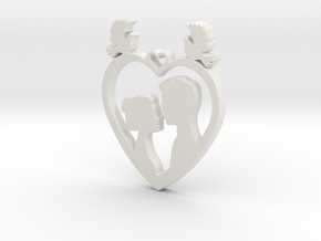 Two in a Heart with Doves V1 Pendant - Amour in White Natural Versatile Plastic
