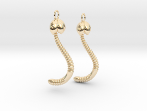 """Life of a worm"" Part 4 - ""Baby worm"" earrings in 14k Gold Plated Brass"