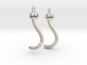"""Life of a worm"" Part 4 - ""Baby worm"" earrings in Rhodium Plated Brass"