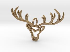Deer Pendant in Polished Gold Steel