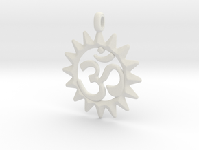 OM Symbol Jewelry Pendant in White Natural Versatile Plastic